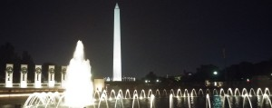 World War II National Monument with the Washington Monument