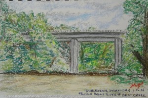 Sketch of he Blue Ridge Parkway over the French Broad River
