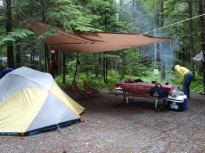 Acadia campsite in the rain