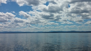 In the middle of Lake Champlain