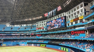 Rogers Centre - Hotel guests room windows surround the giant screen