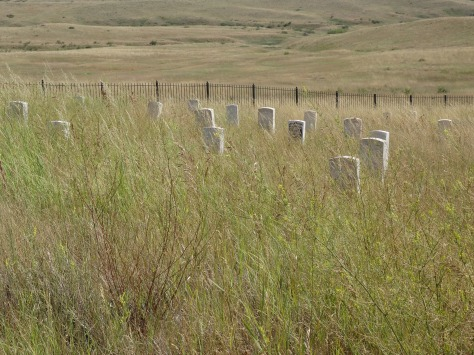 Markers in Little Bighorn Battlefield