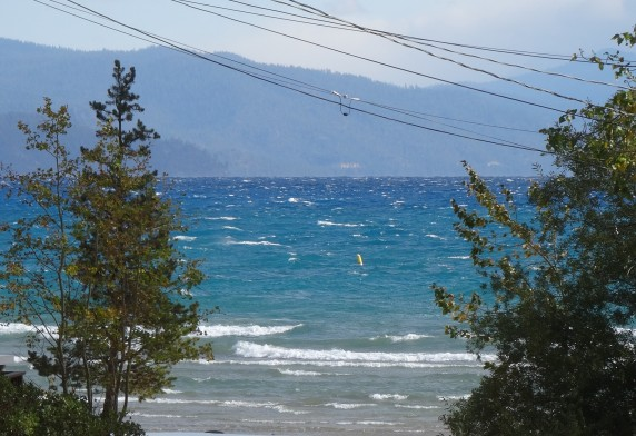 View of choppy Lake Tahoe from Rustic Cottage