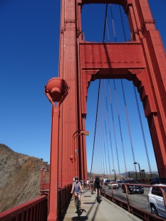 Mart bicycling across the Golden Gate