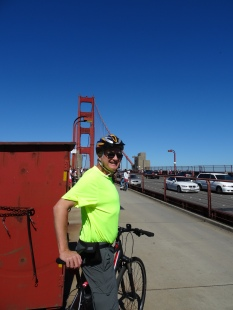 Trey bicycling across the Golden Gate